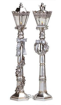 2 Victorian Inspirations Battery Operated LED Lighted Silver Lamp Posts 24
