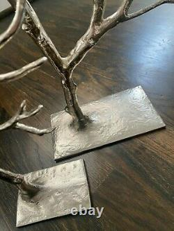 2 West Elm CAST METAL JEWELRY TREES Silver HOLIDAY DECOR Christmas Ornaments