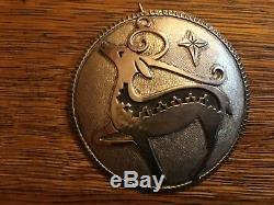 3 Navajo Christmas 96 Michael Tahe Sterling Silver Elk Pendant Ornament #22/150