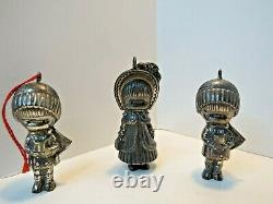 3 Sterling Silver Joan Walsh Anglund 1973 Wolfpit Christmas Ornament Lot. RARE