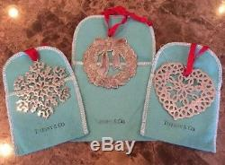 (3) TIFFANY & CO Sterling Silver 925 Christmas Ornaments Wreath & Snowflakes