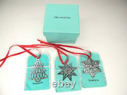 3 Tiffany & Co Sterling Christmas Ornaments 1998, 1999 & 2000