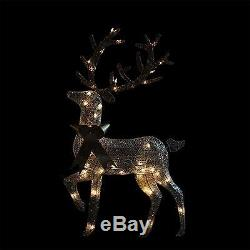 46 Lighted 2-D Silver Glitter Reindeer Christmas Yard Art Decoration