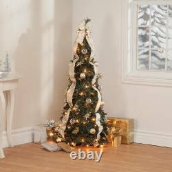 4' Silver & Gold Pull-Up Christmas Tree by Holiday Peak, Pre-Lit and Fully