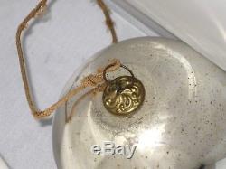 5 Antique German Kugel Mercury Silver Glass Brass Cap Christmas Ornament Ball