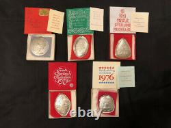 5 Towle 12 Days of Christmas Sterling Silver Medallion Ornaments 1971-1974, 1976