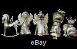 5 Vintage Cazenovia and RM Thrush Sterling Silver Christmas Ornament