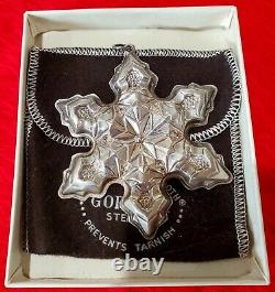 5 Vintage Gorham Sterling Silver Snowflake Ornaments withBoxes and Velvet Pouches