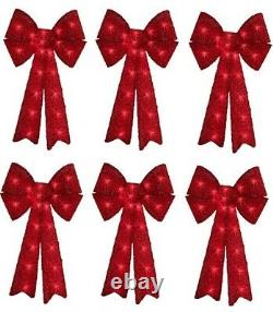 (6) Impact 12 X 24 Red Tinsel Christmas Bows w 20 Clear Mini Lights 67379