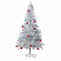 6 ft Silver Tinsel Christmas Tree + 24ct Assorted Ornament Set& Metal Stand Xmas