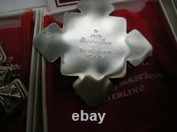 7 Reed & Barton 1979 Sterling Silver Christmas Cross Ornaments Boxed