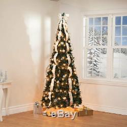 7' Silver & Gold Pull-Up Tree by Holiday PeakTM XL, 7 Foot