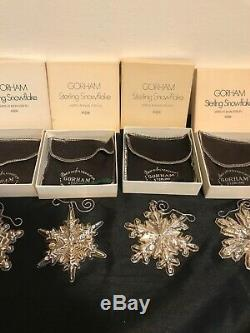 8 GORHAM STERLING SILVER 1971 -1977 CHRISTMAS ORNAMENTS With BOX