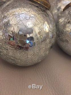 9 -3.5restoration Hardware Christmas Crackle Silver Glass Ornaments Christmas