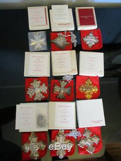 9 Reed&Barton Sterling Silver Christmas Cross & Heart Ornaments Pendants 1971-79