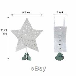 9 Silver Star Christmas Tree Topper with Rotating White Snowflake Projector NEW