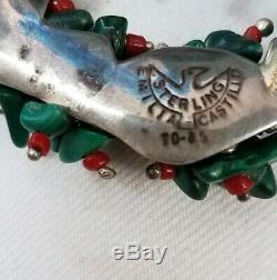 Antique Emilia Castillo Sterling Silver Malachite Coral Bead Christmas Ornament