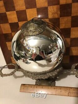 Antique French Kugel Large Silver Christmas Ornament 7 1/2 by Vergo Glassworks