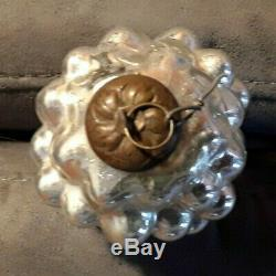 Antique French Silver grey Grape Glass Kugel Christmas Ornament