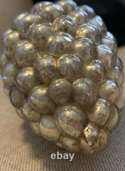Antique German 3.75 Grape Cluster Kugel Ornament- Silver