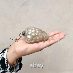 Antique German Kugel 3.25 Silver Cluster Of Grapes Christmas Ornament Original