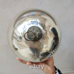 Antique German Kugel Big Size 8.25 Silver Round Christmas Ornament Original Old