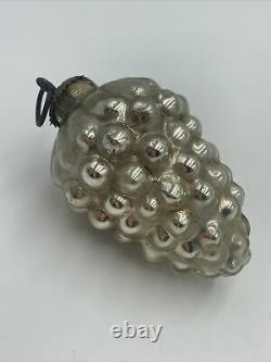 Antique German Kugel Ornament Silver Grapes Victorian Mercury Glass 3.25