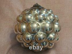 Antique German Rare Silver Berry Kugel Christmas Ornament