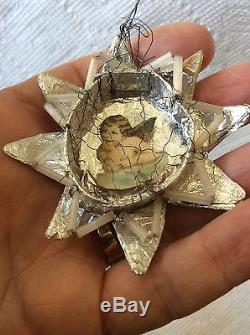 Antique German Sebnitz Angel In Silver Star Christmas Ornament