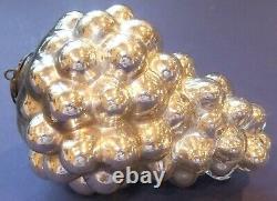 Antique German Silver Mercury Glass 6 Grape Form Kugel Christmas Tree Ornament