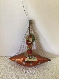 Antique German Wire Wrapped Orange Sailboat Santa Cotton Christmas Ornament