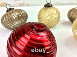 Antique KUGEL Glass Christmas Ornaments Qty 7 Silver Lined Gold Red Germany