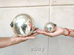 Antique Kugel 5 & 2.5 Pair Silver Colour Round Christmas Ornaments Germany