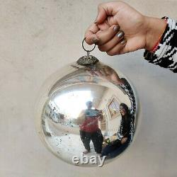 Antique Kugel Big 8.5 Silver Round Christmas Ornament Germany Original Old