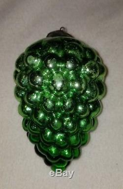 Antique Kugel Green Grape Cluster Shape Silvered Glass Christmas Ornament 4-3/4