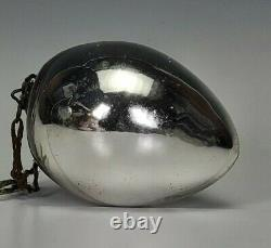 Antique Kugel Silver Glass Christmas Egg Shaped Ornament 3 5/8