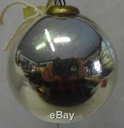 Antique Kugel Silver Sphere Christmas Ornament 2.5