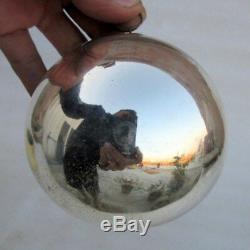 Antique Old Mercury Silver Glass Original Heavy German Kugel Christmas Ornament