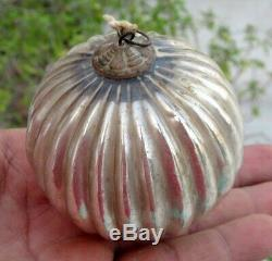 Antique Old Silver Glass Ribbed Original Heavy German Kugel Christmas Ornament