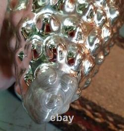 Antique RARE German Kugel BIG 12 Silver Mercury Glass Acorn Christmas Ornament