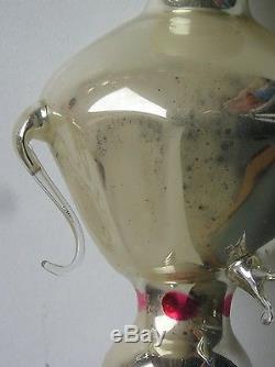 Antique Russian Christmas silver glass ornament Big Samovar