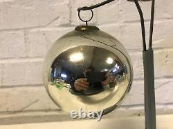 Antique Silver Mercury Glass Kugel Hanging Ornament 4 High / Diameter