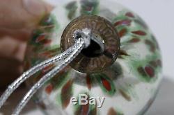Antique Silver Red Green Mercury Glass Christmas Ornament Decoration Rare