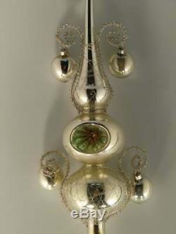 Art Deco Silver Glass Christmas Tree Ornament Decoration 1930s 30s