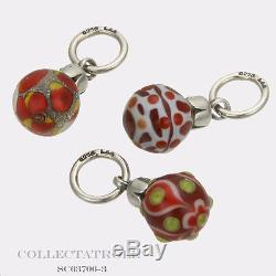 Authentic Trollbeads Silver Red Christmas Ornaments Kit 3 Beads SC63706