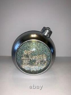 BATH & BODY WORKS Silver Ball Ornament Musical Lighted Waterglobe POLAR BEAR NWT