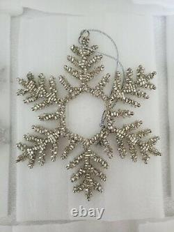 Balsam Hill Beaded Snowflake Ornaments Set of 12 7S2