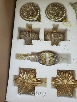 Balsam Hill Silver and Gold Glass Ornament Set of 35