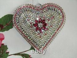 BiG cHic viNtage AB RhiNeStoNe JEWELRY piNk HEART ChristMas Ornament hANdmAde