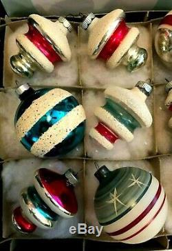 Box 12 Vtg ShinyBrite UFOs TREE BULB Unsilver & Silvered GLITTER Xmas Ornaments